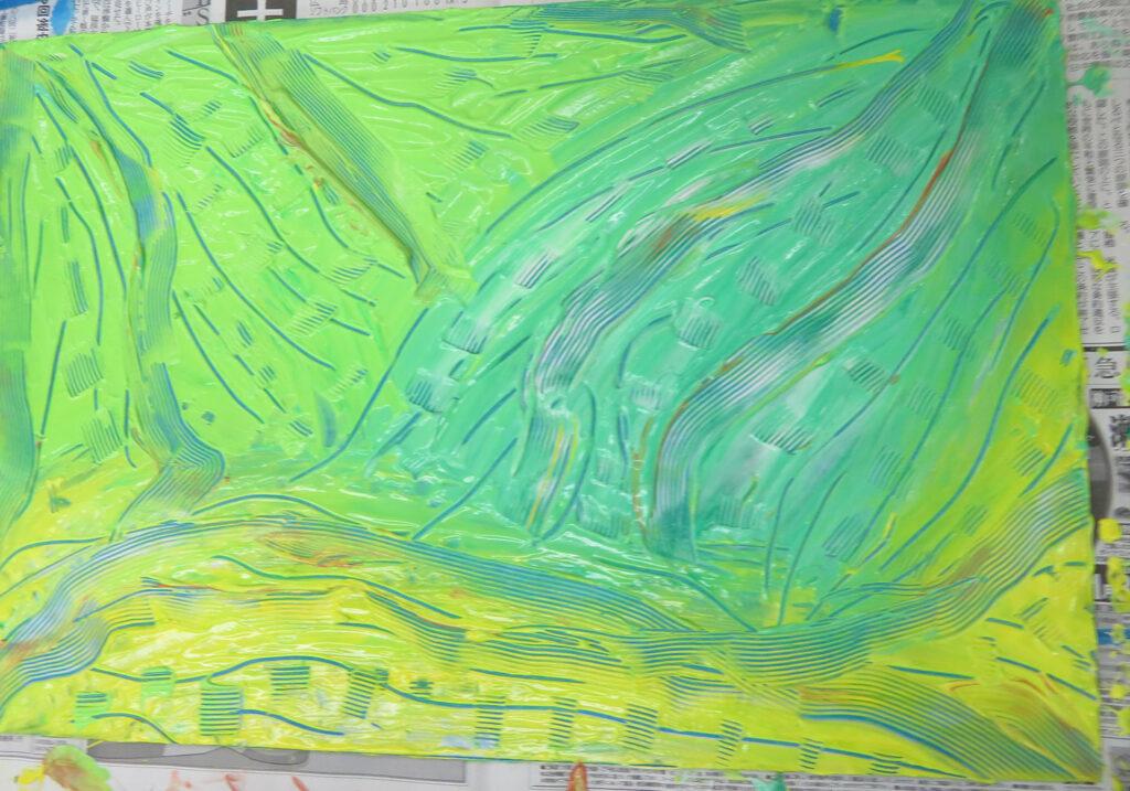 液体粘土で絵に表す