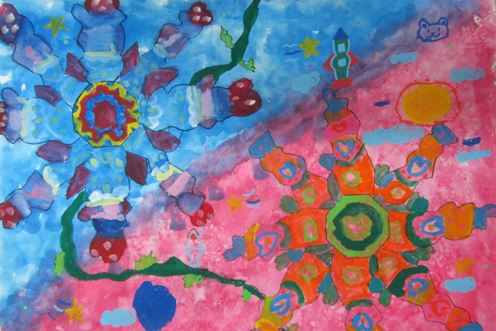 色いっぱいの不思議な花