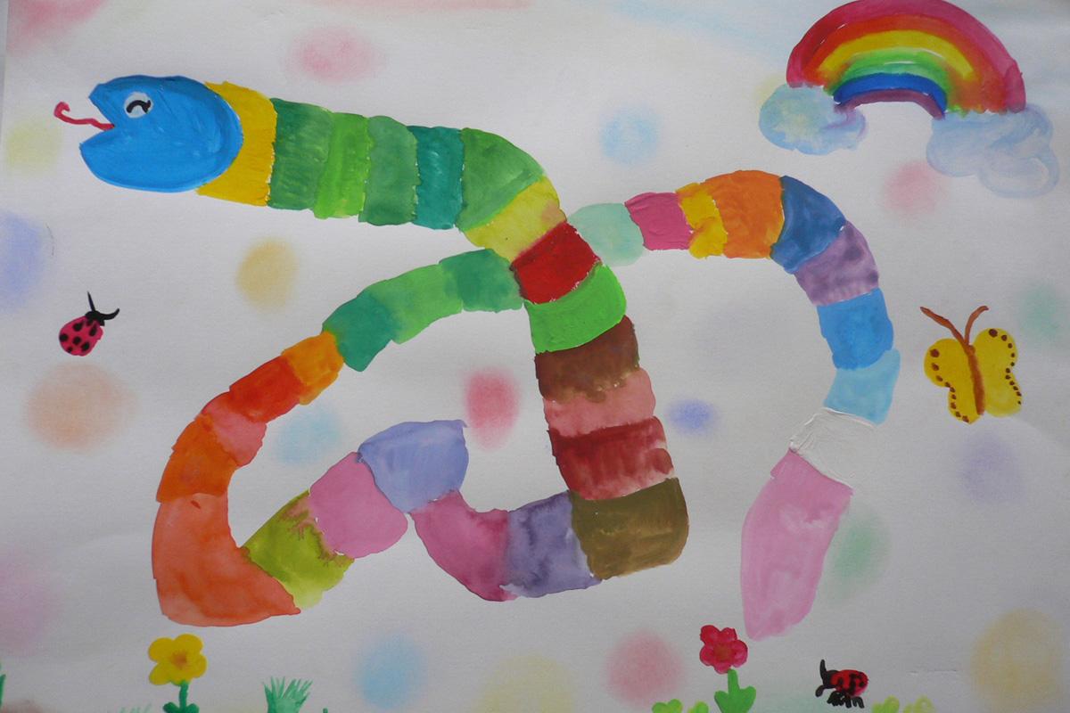 色混ぜを使ったカラフルな蛇