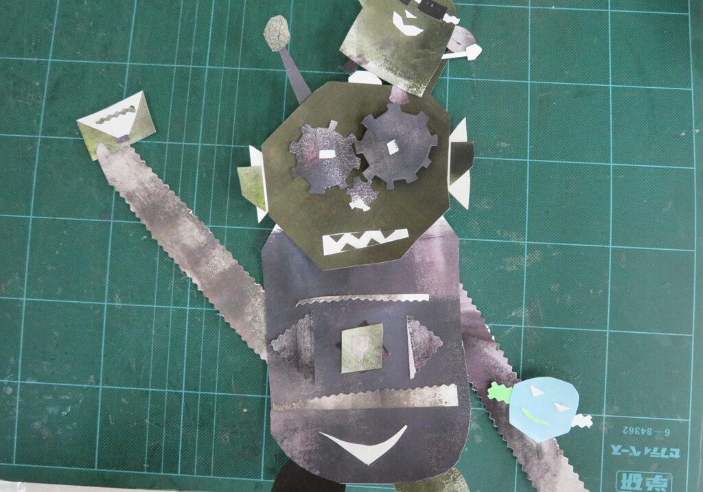 貼り絵で表現するお友達ロボット
