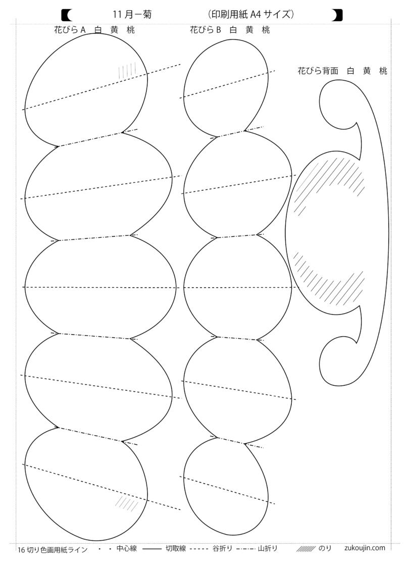 季節の壁面飾りー11月菊型紙