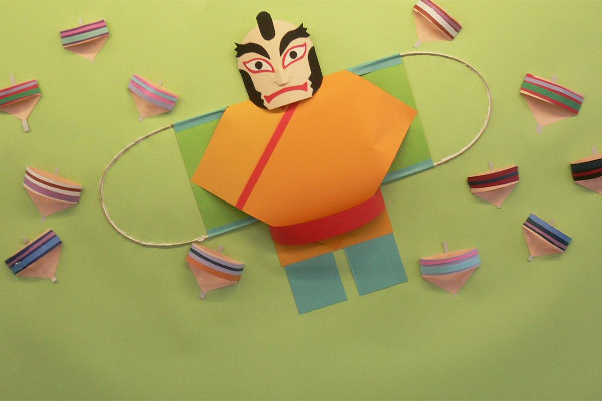 1月の壁面掲示凧と独楽